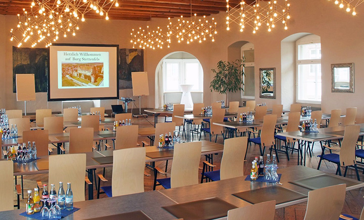The facilities of Stettenfels Castle are well suited for conferences, seminars, concerts, presentations and other events accommodating up to 500 people.